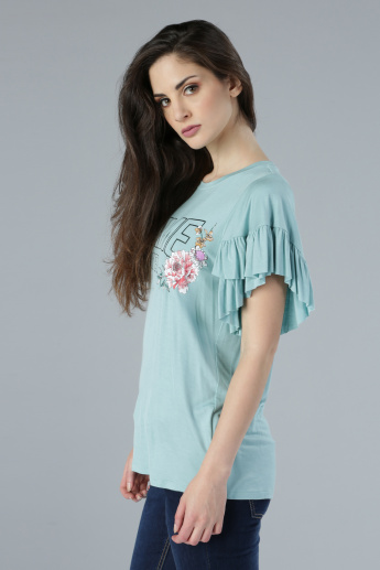 Printed Round Neck Top with Ruffle Detail