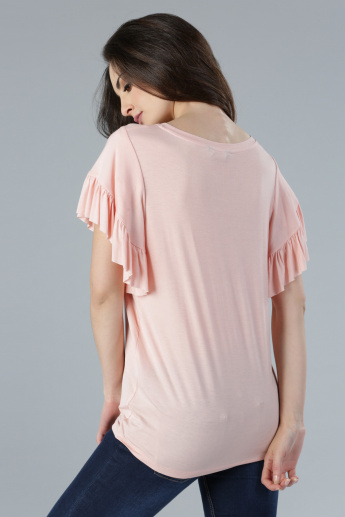 Printed Shell Top with Ruffle Detail