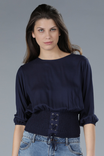 Round Neck Top with Smocking Detail and Key Hole Closure