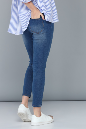 Mid-Rise Jeggings with Pocket Detail and Elasticised Waistband