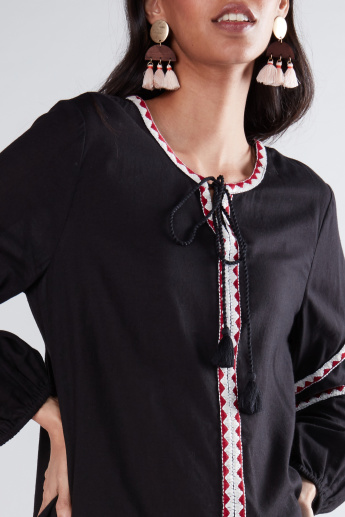 Embroidered Tape Detail Top with Long Sleeves