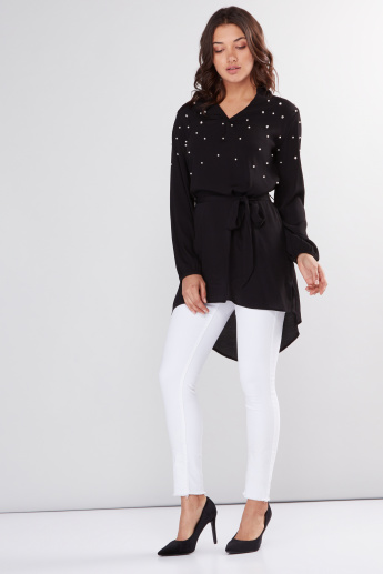 Embellished Top with Long Sleeves and High-Low Hem