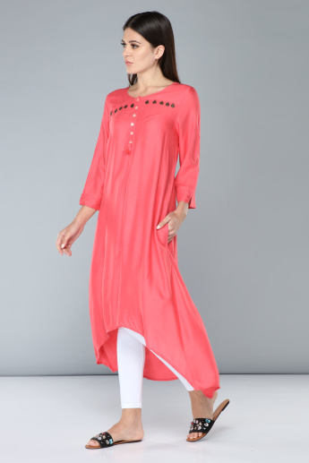 Embellished Indo Ethnic Kurti with Asymmetric Hem