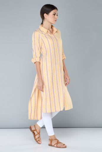 Printed Indo-Ethnic Kurti with Long Sleeves