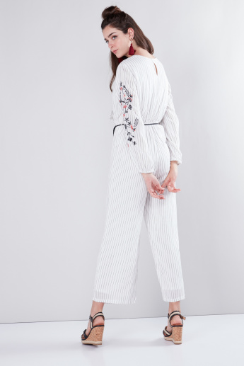 Embroidered Wrap Jumpsuit with Long Sleeves