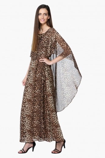 Maxi Dress with Cape Detail and Cascade