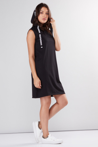 Sleeveless Midi Dress with Hood and Tape Detail