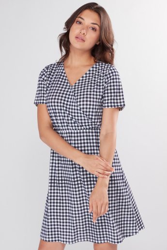 Chequered A-Line Dress with Short Sleeves