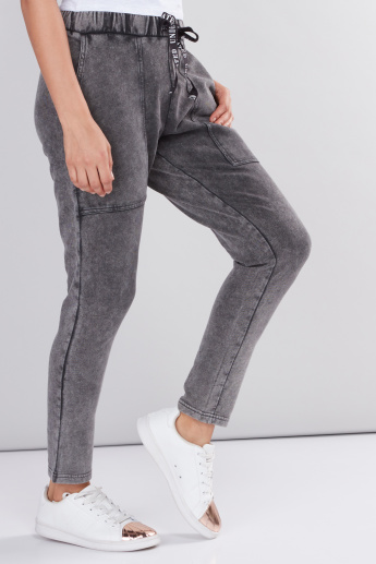 Pocket Detail Pants with Elasticised Waistband and Drawstring