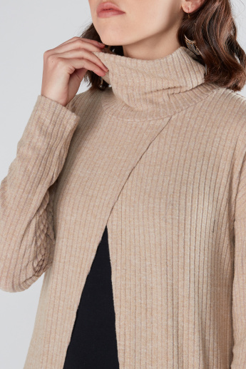 Ribbed Longline Shrug with High Neck and Long Sleeves