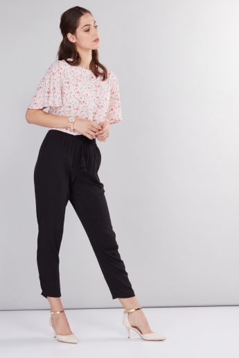 Textured Full Length Pants with Elasticised Waistband and Drawstring