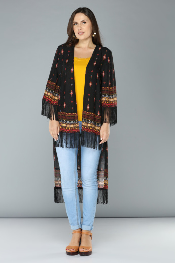 Printed High-Low Hem Kimono Shrug with Fringes