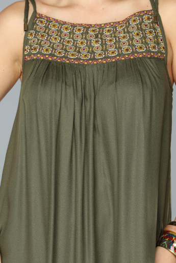 Embroidered Maxi Dress with Adjustable Spaghetti Straps