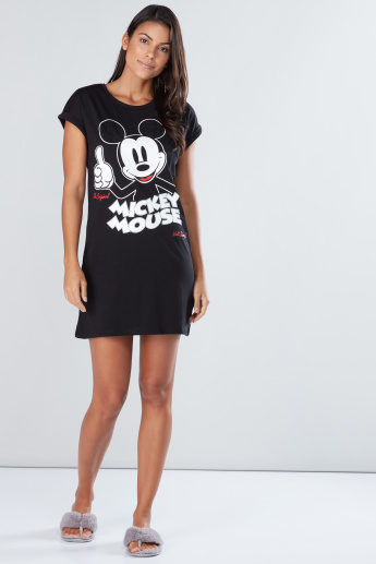Mickey Mouse Printed Mini Sleep Dress with Round Neck