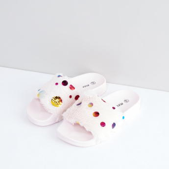 Slides with Plush Detail Straps