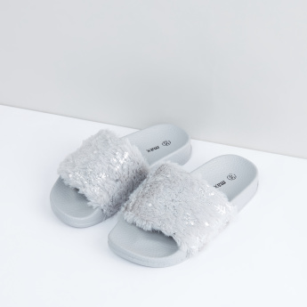 Slides with Printed and Plush Straps