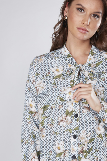 Printed Shirt Tunic with Pussy Bow