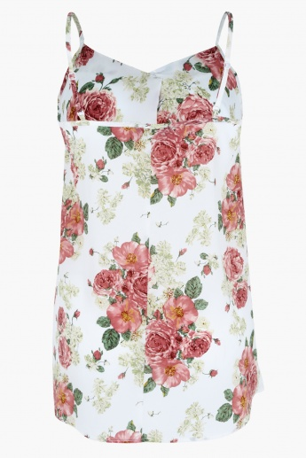 Floral Print Sleeveless Camisole with V-Neck