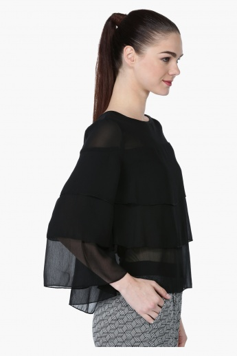 Layered Top with 3/4 Sleeves and Round Neck