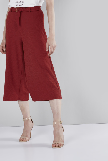 Crinkle Culottes with Elasticated Waistband and Horn Buckle