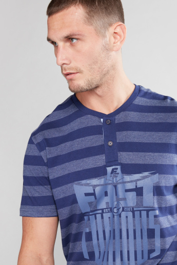 Fast and Furious Printed T-Shirt with Henley Neck and Short Sleeves
