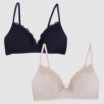Padded Bra with Lace Detail - Set of 2