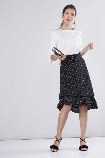Printed Midi Wrap Skirt
