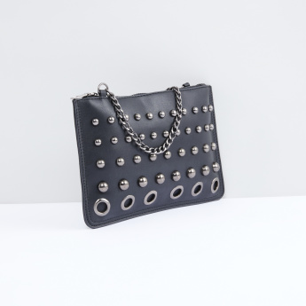 Studded Handbag with Metallic Chain and Zip Closure
