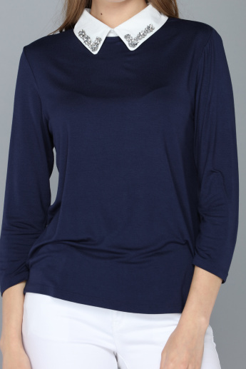 Embellished Collar Top with Long Sleeves