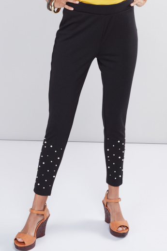 5e09864aa6d42 Full Length Leggings with Elasticised Waistband and Pearl Detail | Black |  Embellished