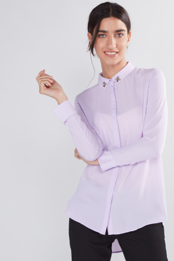 Longline Shirt with Long Sleeves and Concealed Placket