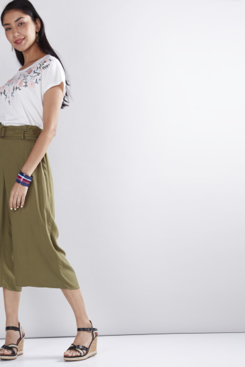 Mid-Rise Culottes with Paper Bag Waist