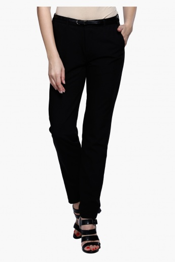 Full Length Straight Fit Trousers with Belt