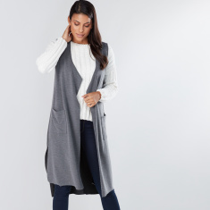 Textured Open Front Longline Shrug with Pocket Detail