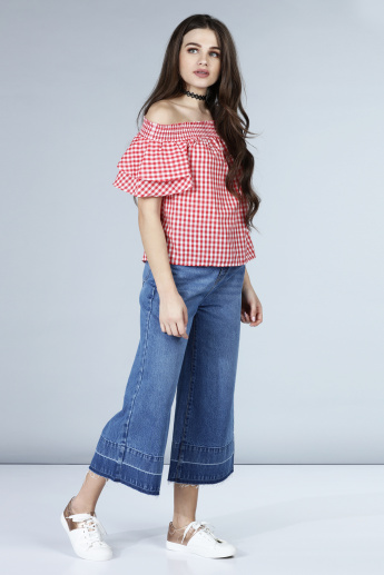 Chequered Off Shoulder Crop Top with Smocking at Yoke