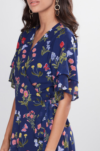 Floral Printed Wrap Dress with Flared Sleeves and Asymmetric Hem