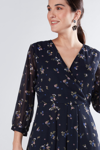 Floral Printed Wrap Dress with Pleat Detail and 3/4 Sleeves