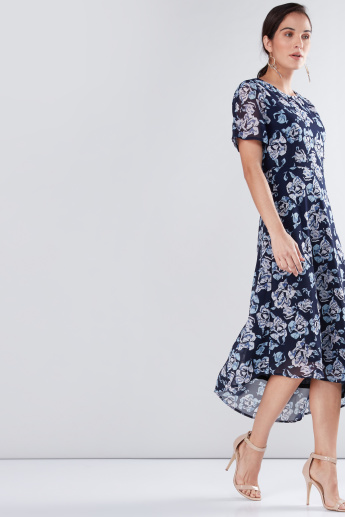 Floral Printed Midi Dress with Asymmetric Hem