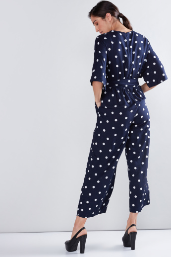 Polka Dot Printed Jumpsuit with Tie Ups