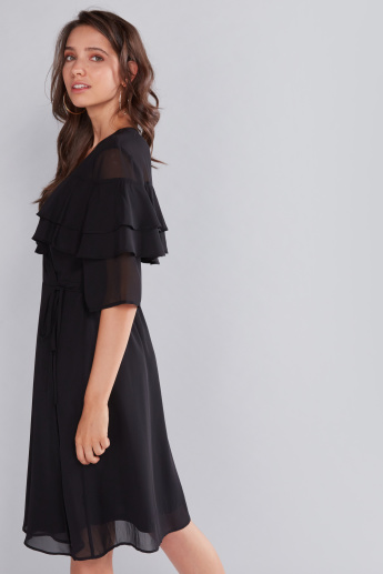 Ruffle Detail Wrap Around Midi Dress with Short Sleeves