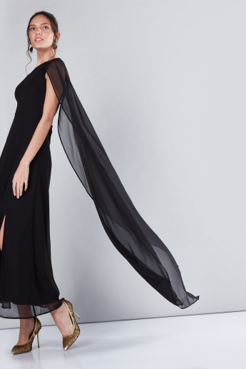 One Shoulder Cape Maxi Dress with Slit