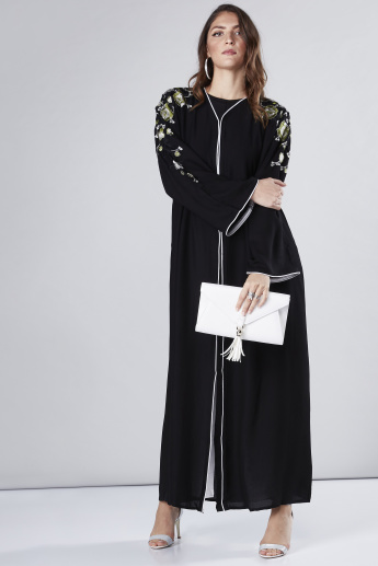 1701acd056b44 Embroidered Abaya with V-Neck and Long Sleeves