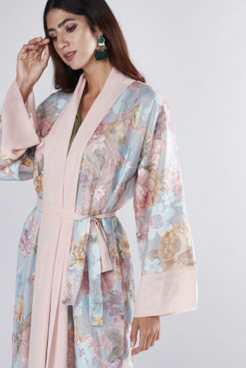 Floral Printed Abaya with Tie Up Belt