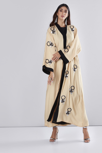 Flower Applique Straight Cut Abaya with Long Sleeves