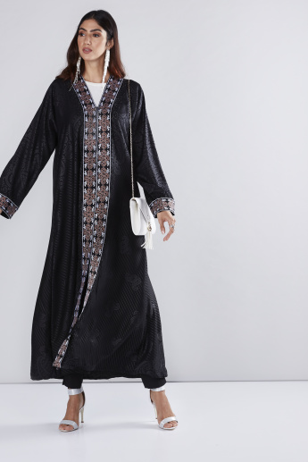Embroidered Ankle Length Abaya with Long Sleeves