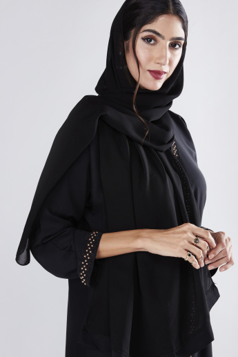 Embellished Abaya with Long Sleeves and Front Slit