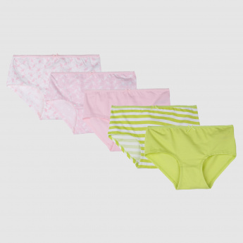 Assorted High Leg Briefs with Elasticised Waistband - Set of 5