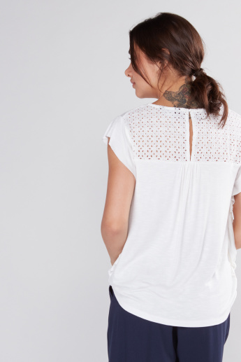 Schiffli Detail Top with Round Neck and Keyhole Closure