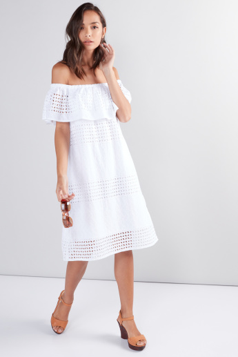 Off Shoulder Midi Dress with Cutwork Detail