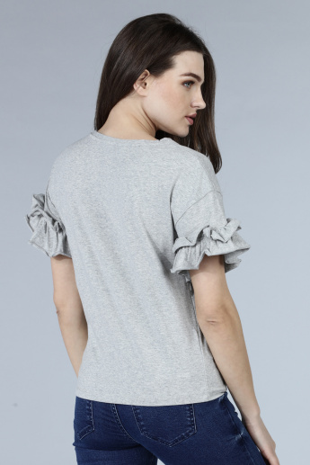 Ruffle Sleeves Knit Top with Fringed Detailing